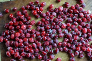 sugared cranberries on baking sheet