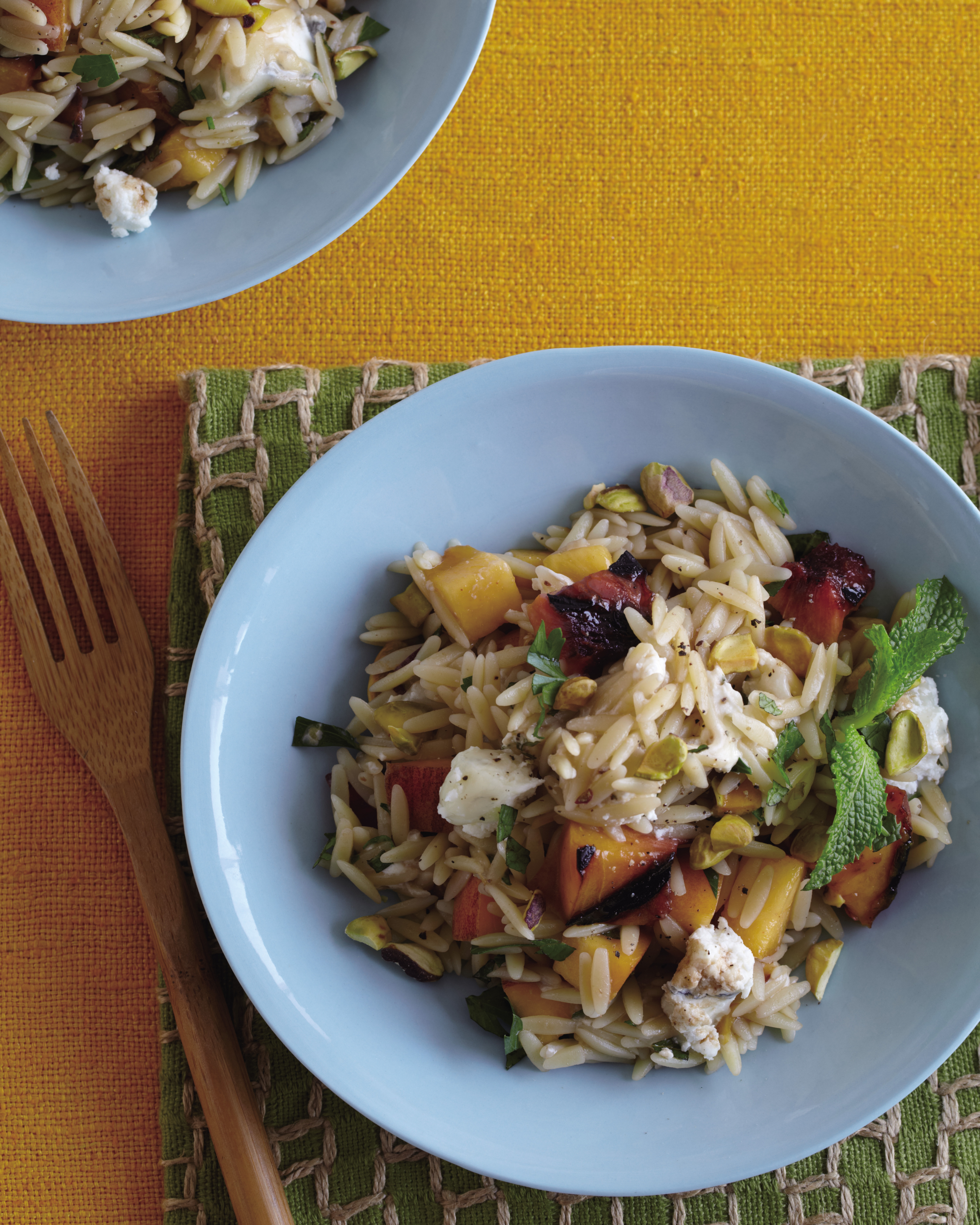 Humboldt Fog with Grilled Peaches and Orzo
